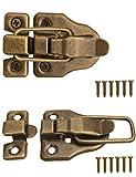 FUXXER® -2x Verschlüsse für Truhen, Kisten, Boxen, Koffer | für Vorhänge-Schloss | Vintage Messing Design | 2er Set inklusive Schrauben, 59 mm x 40 mm