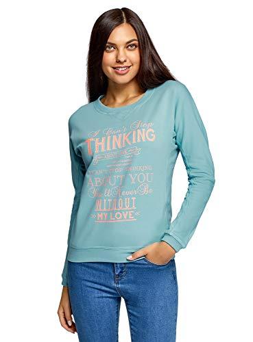 oodji Ultra Damen Sweatshirt mit Druck, Türkis, DE 36 / EU 38 / S -