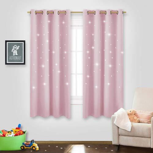 Nicetown space inspired night sky twinkle star kid da tenda, creative nursery oscurante finestra tende per camera da letto, tessuto, baby pink, 2 panels | l63