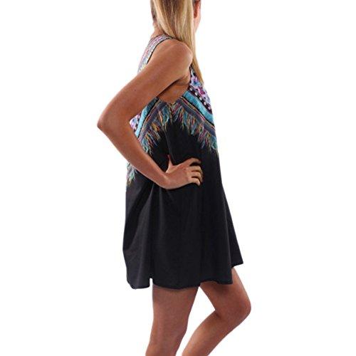 Mini Vestito Stampato JLTPH Vestiti Spiaggia Donna Maniche Stampato Abito Corto Mini Vintage Boho Fiore Stampato Dress color1