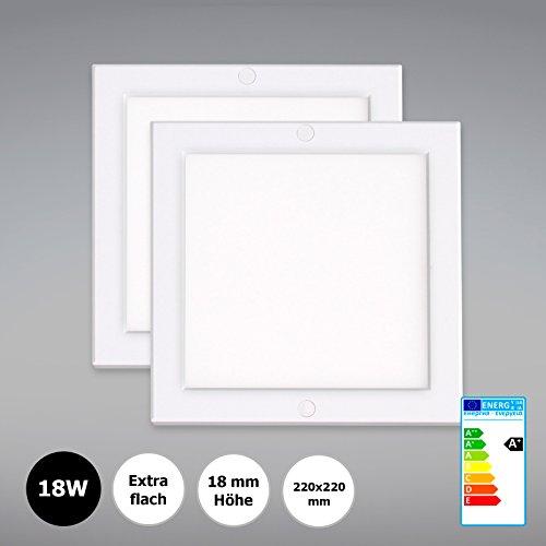 2 Stück Xtend Pld Mini Aufputz Led Panel 18w Ultraslim Deckenleuchte Eckig 220x220mm Mit Integriertem Netzteil Neutralweiß 4000k Extra Flach