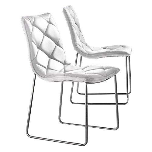 LA SEGGIOLA 2Stück Stühle Toskana aus beschichtetem Stoff Polyurethan Kunstleder Weise Leder weiß Untergestell Chrom -