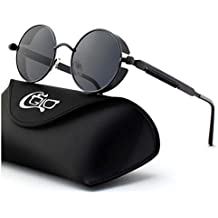 9a091bbbb47f7 CGID E71 Steampunk estilo retro inspirado círculo metálico redondo gafas de  sol polarizadas para hombres