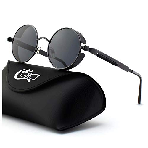 755dae70616 CGID E72 Retro Steampunk Style Inspired Round Metal Circle Polarized  Sunglasses for Men