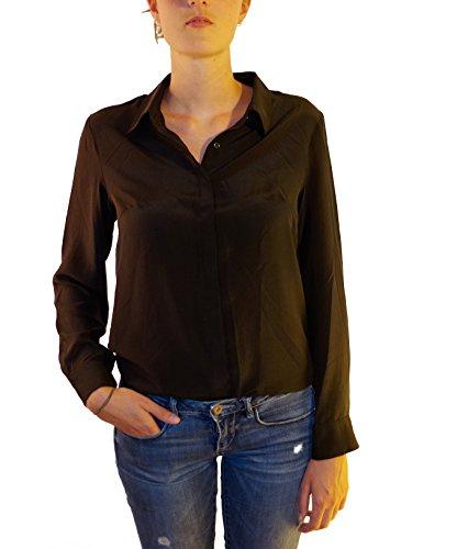 Posh Gear Damen Seidenbluse CAMICINA Bluse Aus 100% Seide, Schwarz, Größe S (Aus S/s Seide Bluse)