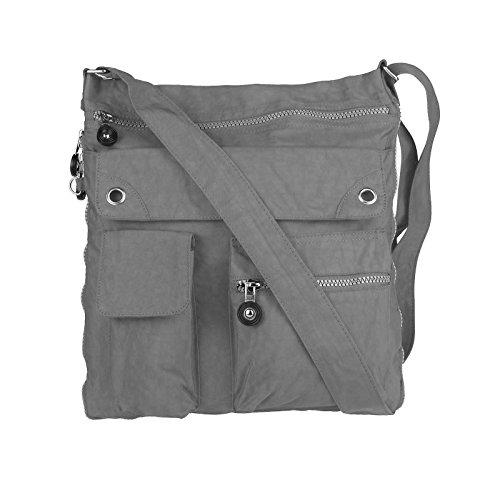 OBC Unisex Erw. & Kinder Tasche ERWEITERBAR Schultertasche Freizeit Shopper Tablet/Netbook bis ca. 10-13 Zoll (Taupe-Stone) Grau