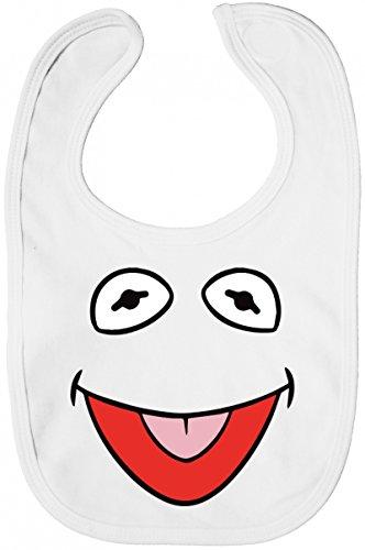 ShirtStreet Fasching Karneval Verkleidung Baby Lätzchen Baumwolle Baby Bib Jungen Mädchen Frosch Kostüm, Größe: onesize,White (Kermit Baby Kostüm)