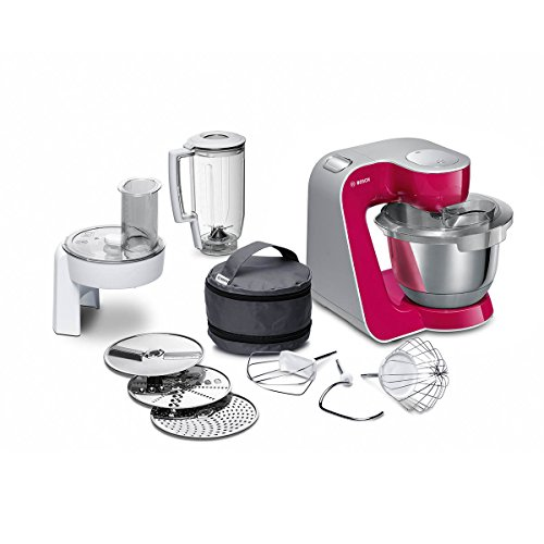 Bosch MUM58420 Küchenmaschine CreationLine, 1000 W, 3,9 l Edelstahl-Rührschüssel, 3D Rührsystem, 7 Schaltstufen, rot Diamon/silber