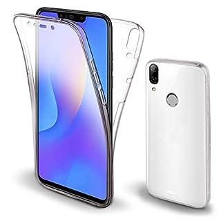 Moozy 360 Grad Hülle für Huawei P Smart+ / Huawei P Smart Plus - Vorne und Hinten Transparenter TPU Ultra Dünn Weiche Silikon Handyhülle Case