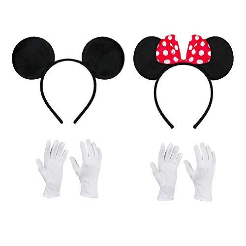 Amasawa Haarreifen in Schwarz Mit Maus Ohren Mouse Mit Schleife in Rot Mit Weißen Punkten Inklusive Weiße Handschuhe für Kinder Erwachsene (4 Teiliges Set)