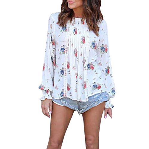 Imagen de shobdw mujeres moda primavera verano tallas grandes cuello redondo manga larga gasa estampado floral camiseta informal sobresaliente blusa diaria tops elegantes blanco,s