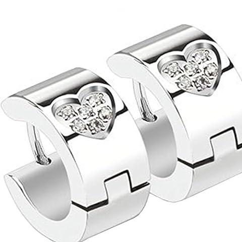 Pair of Small Stainless Steel Huggie Hoop Earrings With Love Heart Shaped Cubic Zirconia Stones