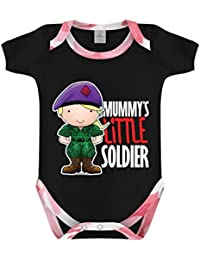 Mummy's Little Soldier Pink Camo Baby Grow Black