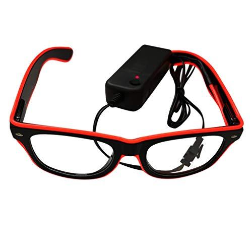 fazry Leuchtende Brille El LED Club Party EyegGlasses Bright Flashing Brill Battery Box Gr. Einheitsgröße, rot