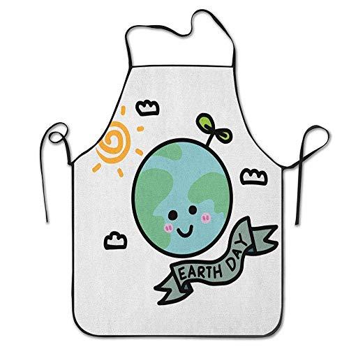 Not Applicable Öko-Botschaft im kindlichen Globus Baum Wolken Sonne Illustration Print Schürze Unisex für Frauen Männer Kellnerin Chef Home Barber Kitchen Gardening
