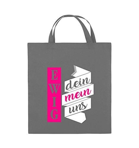 Comedy Bags - Ewig dein, ewig mein, ewig uns - Jutebeutel - kurze Henkel - 38x42cm - Farbe: Schwarz / Weiss-Neongrün Dunkelgrau / Weiss-Pink