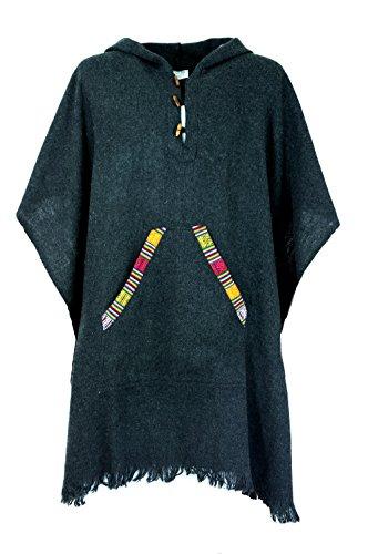 Guru-Shop Poncho Hippie Chic, Andenponcho, Unisex Poncho, Herren/Damen, Synthetisch, Size:One Size, Strickjacken, Ponchos Alternative Bekleidung Schwarz