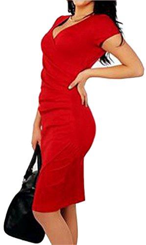Damen Bleistiftkleid V-Ausschnitt Bodycon Mantel Rüschen besetzt Brust Schmal Geschnittene Kurze Hülsenlänge Business Kleid Minikleid Abendkleid Partykleid Rot
