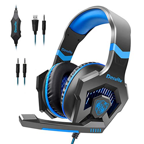 Gaming Headset für PC PS4 Xbox One, Deruitu LED Licht Surround Sound Gaming Kopfhörer mit Mikrofon für Laptop/Mac OS/ Nintendo Switch/ Handy/ Tablet usw.