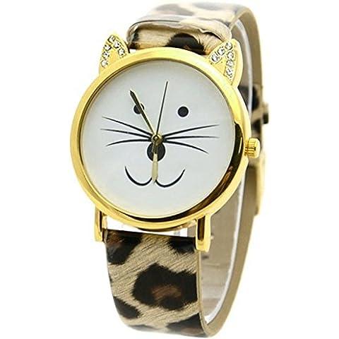 Reloj de pulsera de cara de gato - SODIAL(R)Reloj de pulsera de estras de cara de gato para mujeres leopardo