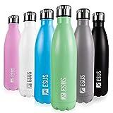 ESUS Edelstahl-Trinkflasche 500ml   Isolierflasche Thermos-Flasche Thermo-Flasche Sportflasche Wasserflasche   BPA frei