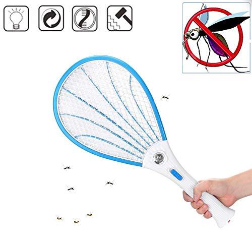 PXQ Elektrische Fliegenklatsche 1 stücke Wiederaufladbare LED Insekt Bug Zapper Schläger 3000 Volt, Handheld Moskito-Killer mit 3-schichtigen Sicherheitsnetz,Blue