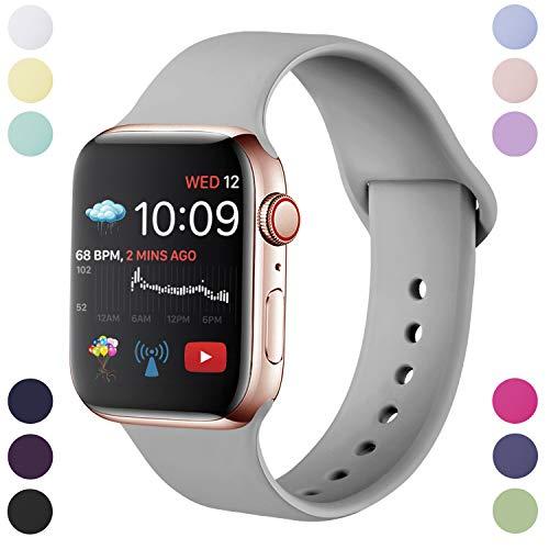 Hamile Armband Kompatibel für Apple Watch 38mm 40mm, Weiche Silikon Wasserdicht Ersatz Uhrenarmbänder für Apple Watch Series 5, Series 4, Series 3, Series 2, Series 1, S/M Grau