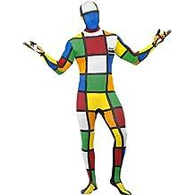 Smiffys, Herren Second Skin Zauberwürfel Kostüm, Ganzkörperanzug und Bauchtasche, Größe: L, 38792