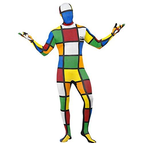 Smiffys, Herren Second Skin Zauberwürfel Kostüm, Ganzkörperanzug und Bauchtasche, Größe: M, 38792
