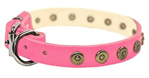 "Dean & Tyler "" Dot Matrix"" 34-Inch by 1-Inch Leather Dog Collar with Solid Brass Circles, Fits Neck 32-Inch to 36-Inch, Pink"