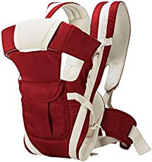 GTC Adjustable Hands-With 4-In-1 Baby Carrier Bag With Comfortable Head Support & Buckle Straps (Cherry Red, With Waist Belt)