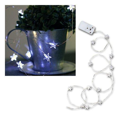 Star 726-37 60 cm à piles 30 LED Blanc froid fil blanc Guirlande à étoiles