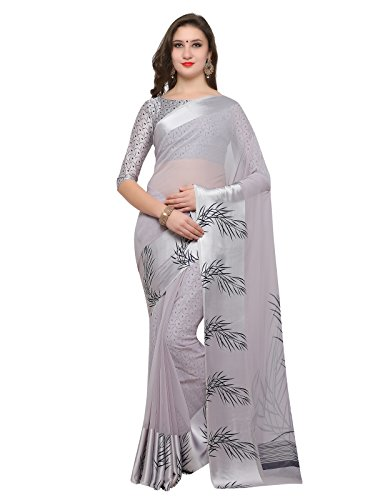 Inddus Grey Printed Georgette Saree with Satin Border for office and casual...