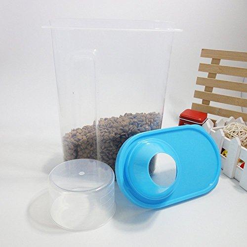 Dealglad®-Contenitore ermetico in plastica, grande capacità, a grani contenitori per alimenti con secchio con Bicchiere graduato, plastica, blu, 27.5cm x 16.5cm x 8cm