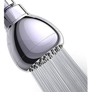 WASSA – Alcachofa de ducha de alta presión, 3 pulgadas, antirfugas, fija, cromada, con rótula giratoria de metal ajustable