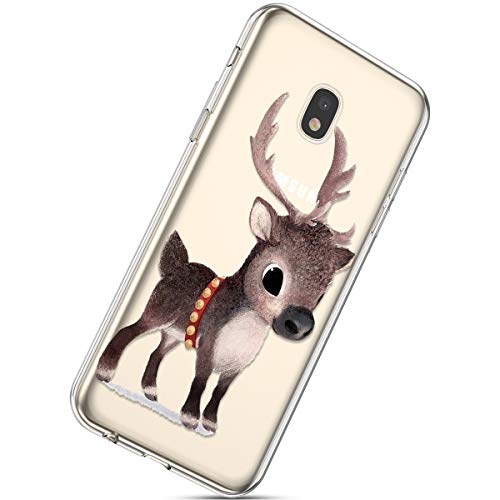 Handytasche Samsung Galaxy J3 2018 Crystal Clear Ultra Dünn Durchsichtige Silikon Schutzhülle Weiche TPU Schutzhülle Silikon Dünn Case Kirstall Transparent Handyhüllen,Braun Hirsch