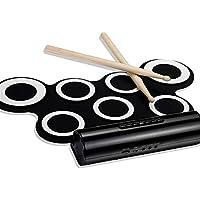 Tambor electronico Digital Folios, lengüeta Plegable USB portátil Batería electrónica Soporte Carga de DTX Juego Dos Altavoces para niños Principiantes