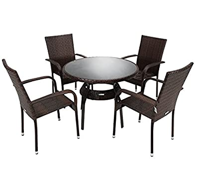 Charles Bentley Garden Rattan Dining Set Table and 4 Armchairs Wicker Set - Dark Brown produced by Charles Bentley - quick delivery from UK.