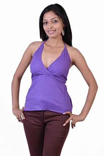 Jaipur Kala Kendra Women's Cotton Beachwear Tank Top Casual Wear Top Medium Dark Purple