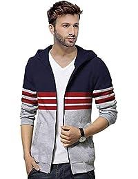 BLIVE Full Sleeve Striped Men's Hooded Zipper Jacket Dark Blue,Grey| Hoodies | Zipper Jacket