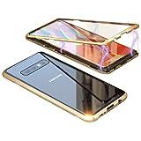Cover per Samsung Galaxy S10 Plus Custodia Magnetica Forte Adsorbimento Case Magnetico con Bumper in Metallo Alluminio Ultra Sottile Posteriore in Trasparente Vetro Temperato Indietro Case,Oro