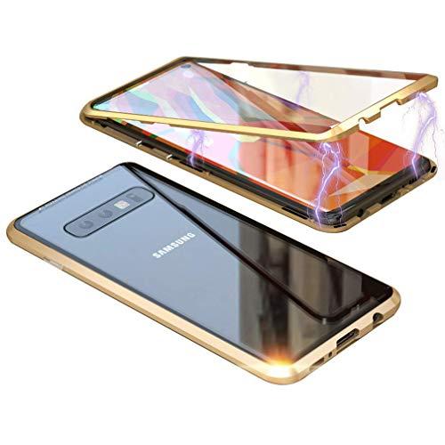 Kompatibel für Samsung Galaxy S10+/ S10 Plus Hülle Magnetische Adsorption Metallrahmen Handyhülle Ultradünn 360 Grad Komplett Schutzhülle Flip Cover Transparente Hinten Gehärtetes Glas Case,Gold