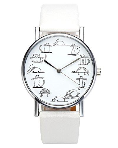 jsdde Relojes, Fashion Cute Dibujos Animados Gatos Reloj de Pulsera Gato Escala Maedchen Mujer Reloj Cuero PU Banda analógico de Cuarzo Reloj, Blanco