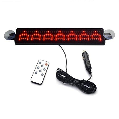LED-Anzeigetafel - SODIAL(R)12V Auto LED Programmierbare Verkehrszeichen Rollen Anzeigetafel mit Fernbedienung (rot) -