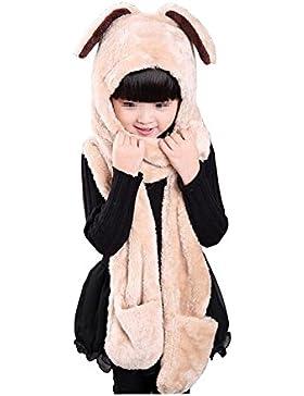 1pcs 3en 1unisex bebé invierno caliente con capucha bufanda de conejo con oveja de terciopelo pockets-coral...