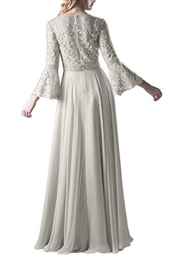 Promgirl House Damen Elegant Lange Aermel A-Linie Chiffon Tuell Spitze Abendkleider Ballkleider Lang Silber