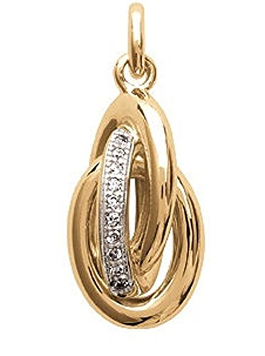 Pendant bathed in gold and zirconium oxide - 3 interlaced rings, diamonds crossed with rhinestones, white - Woman Jewelry