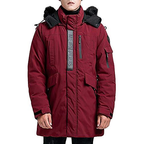 Mymyguoe Männer Wintermantel Kapuzenjacke Mittellanges Outwear Jacke Reißverschluss Hoodie Verdickter winddichter Baumwolle Outwear Mantel