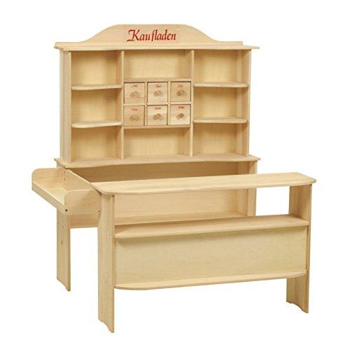 roba Kaufladen, großer Kinder Kaufmannsladen Holz natur, Verkaufsstand 6 Schubladen, Theke & Seitentheke