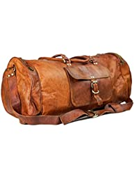 Leather Bag Vintage Genuine 24'' Round Duffle Cum Gym Bag By Anshika International